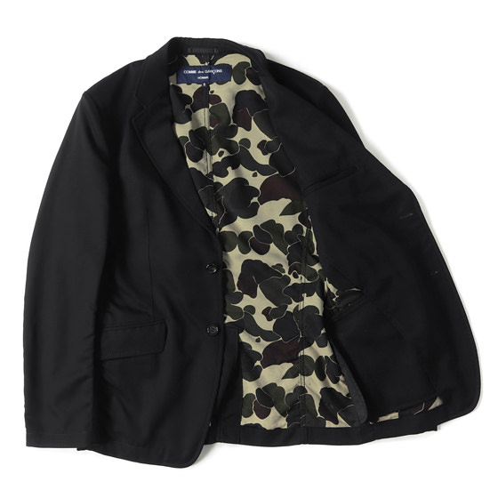 16A/W 裏地ダックカモ ウールツイル2Bテーラードジャケット COMME des GARCONS HOMME 日本製