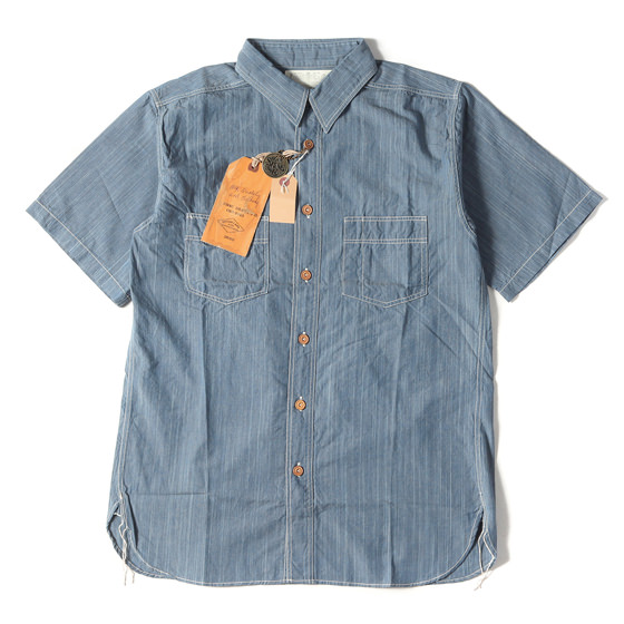 シャンブレー半袖ワークシャツ(FICTON ROMANC/HANK DYED CHAMBRAY WORK SHIRT)
