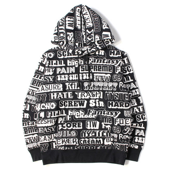 17AW ×HYSTERIC GLAMOUR 総柄スウェットパーカー(Text Hooded Sweatshirt)