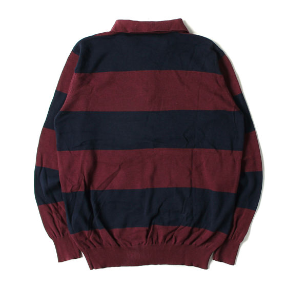 18AW ストライプ長袖ニットポロシャツ(STRIPED KNIT POLO)